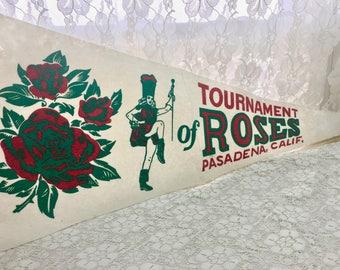 Vintage Pennant-Souvenir Flag-Majorette, Roses-Tournament of Roses-Pasadena CA
