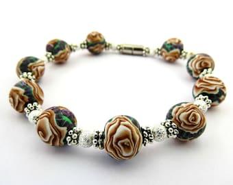 Bracelet/ rose bracelet/ rose jewelry/ gold rose bracelet/ handmade bracelet/ artisan bracelet/ gold bracelet/ flower bracelet/ unique