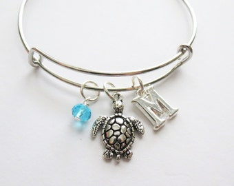 Turtle Charm Bracelet, Expandable Bangle, Personalized, Gift, Initial Charm, Birthstone, Beach Jewelry, Sea Turtle Bracelet, Vacation