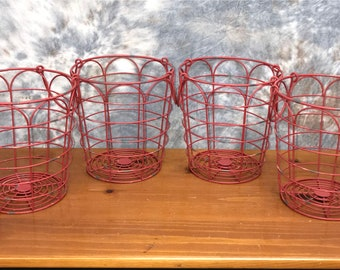 Small Red Wire Baskets with Handles, Farmhouse Baskets, Round Metal Storage Bins, Rustic Baskets, Storage Baskets, Decorative Basket Bins