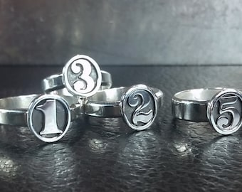 Old Timey Number Ring - Any Size - Made to Order