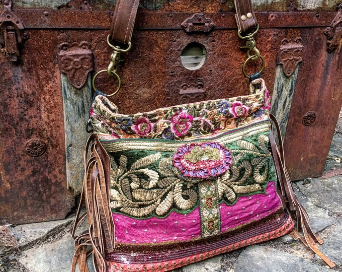"""Bohemian Rosewood Treasure Bag, Hobo Shoulder Slouch Bag, Exotic Cross Body Tote, Boho Purse with Leather Accents, 12"""" x 15"""""""