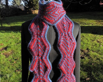 Zigzag Diamond Knit Scarf in Red and Blue Medium Size