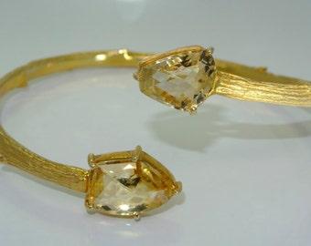Citrine bracelet, gold plated sterling silver bracelet, FREE SHIPPING