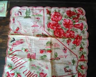 Vintage California Map Handkerchief, poppy flowers, old souvenir, state map Handkerchiefs, woman's Handkerchiefs, ladies, nostalgic