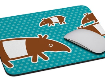 Tapir (green - blue) - Mouse Pad - Soft Fabric Top - Heavy duty natural rubber backing - Custom made