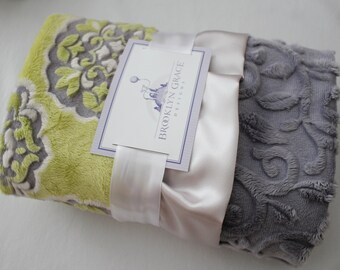 Mar Bella Barcelona in Olivia - Citron Yellow, Gray and White Minky Medallion Print with White Embossed Vine, Baby Shower, Crib Bedding