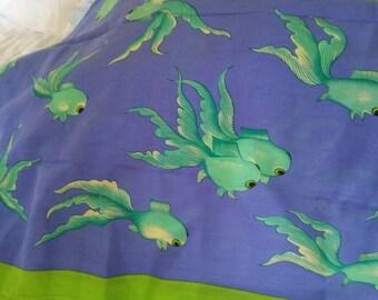 Manuel Canovas Vintage Spring Scarf Goldfish Crabs Excellent Signed Mid Century Design Fabric Paris