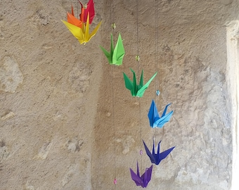 """Mobile origami """"cranes"""" and """"pearls"""" Rainbow"""