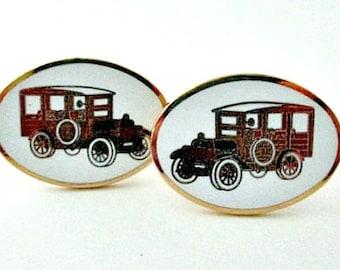 Avon Antique Car Cuff Links Cufflinks - Vintage Avon Men's Jewelry - Vintage Antique Car Jewelry Gift