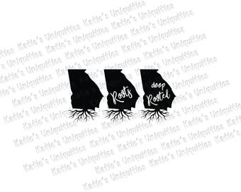 Georgia Roots Deep Rooted 3 State Versions SVG DXF or PNG digital file for use with cutting machines Cricut Silhouette
