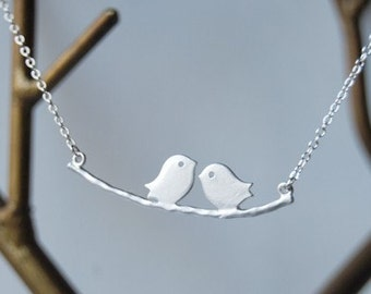 Silver Love Birds Charm Necklace   Cute Bird Necklace   Bird Family Charm Necklace