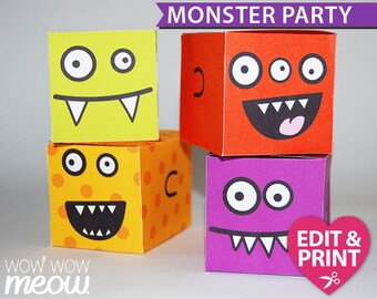 Monster Treat Box INSTANT DOWNLOAD Birthday Bash Favour Bag Personalize Party Edit Fangs Editable Personalise Template Print Printable Color