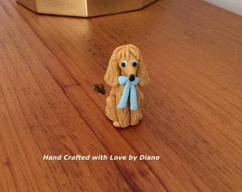 Mini Miniature Hand Crafted Polymer Clay Afgan Hound Figurine