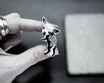 Chihuahua brooch, handmade shrink plastic, drawing, black and white, dog, animal