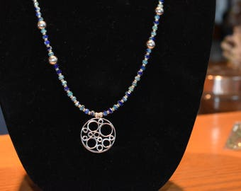 Jewelry - Necklace - Blue Picasso Beads - Sterling Silver - Bubbles Pendant