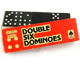 Vintage Dominoes Wood Game Double Six by Hoyle
