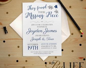 Blue Found their Missing Piece Adoption Party Baby Shower Invitation Printable DIY No. I232