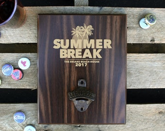 Personalized Wood Sign Bottle Opener, Wall Mounted Bottle Opener, Beer Bottle Opener, Custom Bar Sign, Family Name --PBB-WAL-Brians Beach