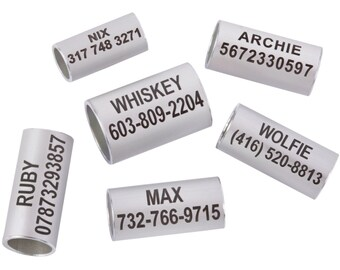 Personalized Dog ID Tag Bead for Rolled Leather Collar Laser Engraved
