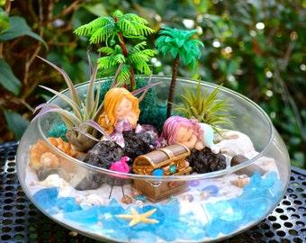 """Mermaid Beach Terrarium Kit ~ Air Plant Terrarium Kit ~ Beach Decor ~ Mermaids + Treasure Chest ~ 10"""" Terrarium Bowl ~ Mermaid Choices ~Gift"""
