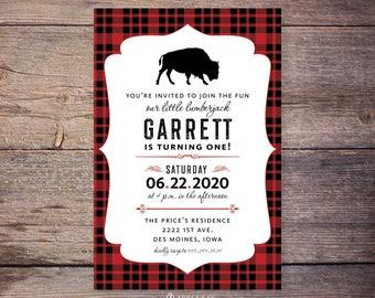 Buffalo Lumberjack first birthday invitations, flannel up birthday party invite, plaid birthday, lumberjack birthday