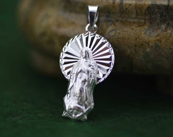Sterling Silver Our Lady of Guadalupe Medal, Virgen de Guadalupe Necklace, Virgin Guadalupe Pendant, Virgin Mary Necklace, Guadalupana