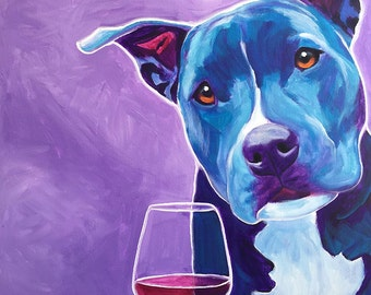 Pit Bull, Pet Portrait, DawgArt, Wine, Dog Art, Pet Portrait Artist, Colorful Pet Portrait, Pit Bull Art, Pet Portrait Painting, Art Prints