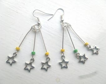 Yellow and green star burst earrings