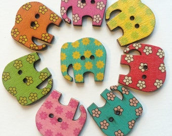 Wooden Buttons- Elephants- 9pcs wood buttons