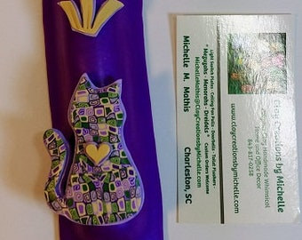 Cat Purple and Green Polymer Clay Mezuzah Case