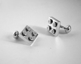 Handmade solid recycled sterling silver Brick cufflinks. Jewelry for men.