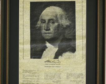 Framed George Washington Portrait with Black Matte. Free Shipping!