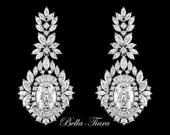 crystal chandelier bridal earrings, bridal chandelier earrings, Swarovski crystal bridal earrings, crystal earrings, cz bridal earrings
