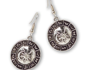 Astrology Wheel with Sun and Moon Silver Finish Pewter Dangle Earrings #948