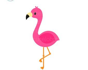 Flamingo Single Clipart - cute flamingo clip art, flamingo bird, tropical clipart - personal use, small commercial use, instant download