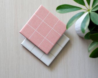 Simple Grid Ceramic Coasters Minimal Linen Rose Pink or White Modern Style Ceramic Tile Coasters Hostess Gift
