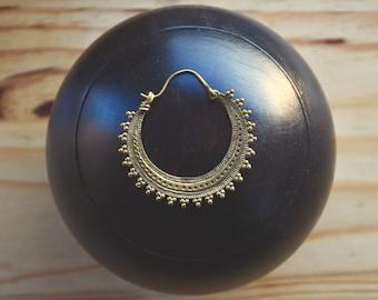 small brass earrings gypsy style boucles d'oreille en laiton