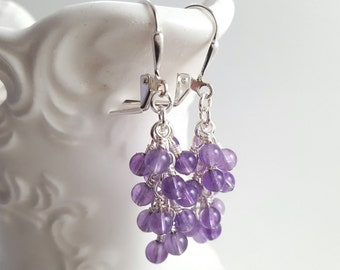 Amethyst Cluster Earrings - February Birthstone Earrings - Purple Gemstone Earrings - Amethyst Dangle Earrings