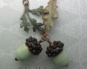 Acorn Necklace with Leaves, Torchwork Glass Jewelry Handcrafted in North Carolina