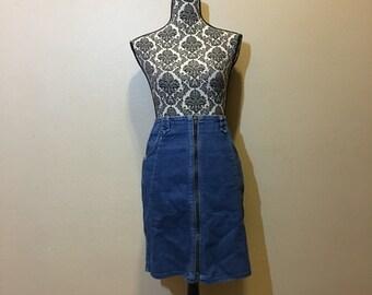 Vintage Denim Skirt   High Waisted Jean Skirt   90s Denim Skirt