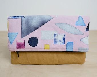 Watercolour shapes clutch bag. Fold over clutch. Washable paper clutch. Vegan clutch. Zipper purse. Washable paper wallet. Bridesmaid gift.