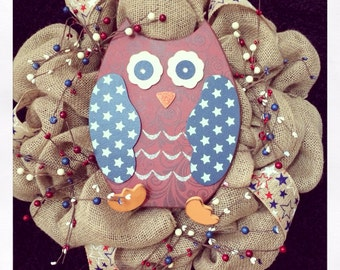 Patriotic Owl Burlap Wreath 4th of July
