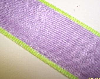 Light Purple and Lime Green Ribbon 3 Yards