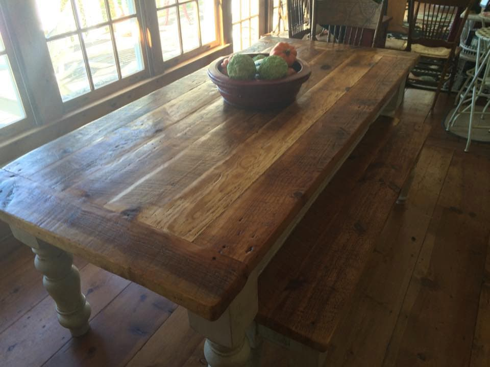8 Foot Heart Pine Farmhouse Table