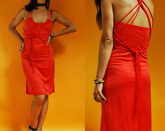 1970s Orange Red Strappy Open Back Disco Dress