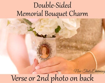 SALE! Double-Sided Wedding Memorial Bouquet Charm - Personalized with Photo and verse of your choice.- Cyber Monday