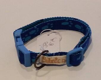 Blue nylon dog or cat necklace