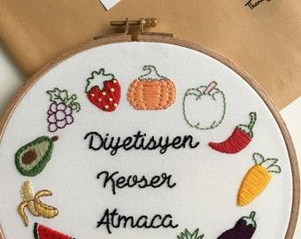 Fruits and Veggies Embroidery Hoop Art
