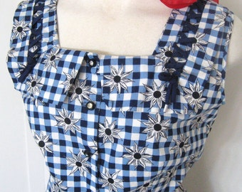 50s Vintage Dress Deadstock, Top Mode Frocks, Cotton Blue Check & Daisy Print, Square Neck Full Skirt, Rhinestone Buttons, NOS, Bust 34 35